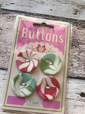 Tilda Cottage Range Buttons 28 mm x 4 fabric covered