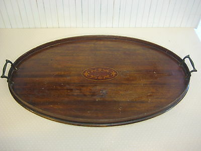 """Large Vintage Mahogany Inlaid Oval Shape Serving Tray W/Brass Handles, 24"""" X 14"""