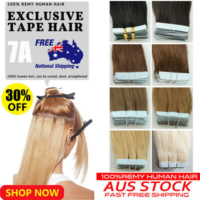 "10-40pcs 16"" 18"" 20""  Tape in 100% Remy Human Hair Extensions Brazilian AU Stock"