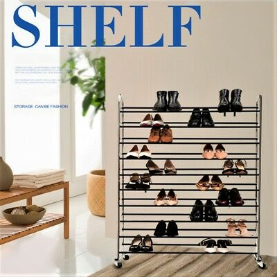 50 Pairs Shoe Rack Cabinet Storage Portable Holder Organiser 10 Tiers Stackable