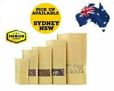 Kraft Paper Bag Stand-Up Zip Lock Pouch with Window Resealable Food Packaging