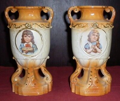 Pair Victorian Porcelain  Kids With Toys Motif Vases Great  Condition