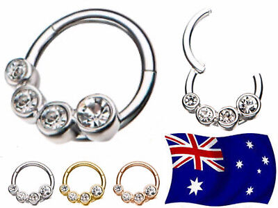 316L Steel Hinged Segment Clicker Hoop Ring With CZ Ear Nose Body Piercing 1pc