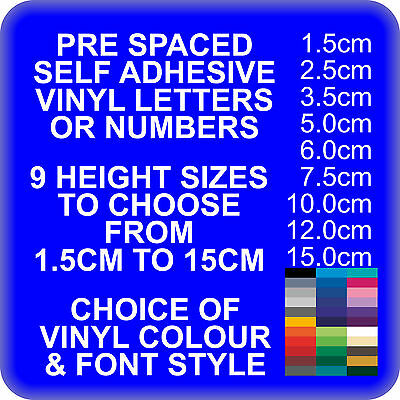 Custom Self adhesive Vinyl Lettering Letters for pre-spaced Words & Sign writing