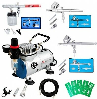 Voilamart Complete Airbrush Kit With Compressor 1/6HP High Performance Quiet