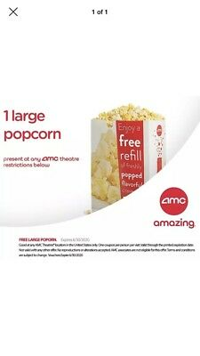 1 Large Popcorn - any AMC Theater