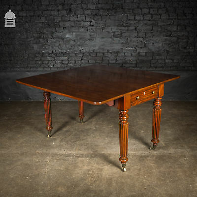 19th C Mahogany Drop Leaf Table with Fluted Legs