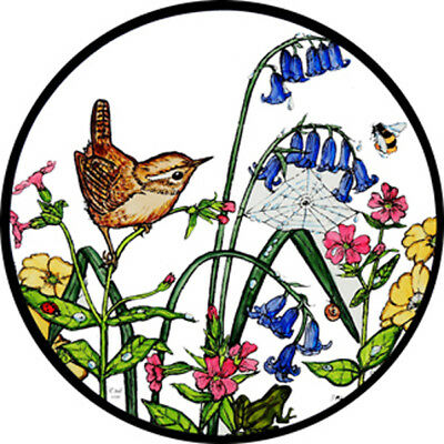 Stained Glass Window Art Static Cling - Wren And Bluebells