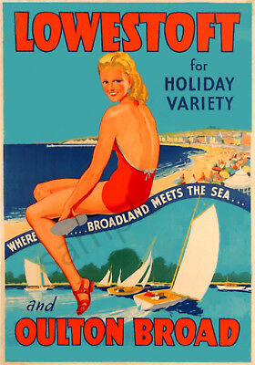 VINTAGE RAILWAY POSTER Lowestoft NORFOLK BROADS Oulton Broad ART PRINT A3 A4