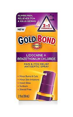 Gold Bond Pain & Itch Relief Antiseptic 3 in 1 Formula Spray 2 oz Exp 05/19