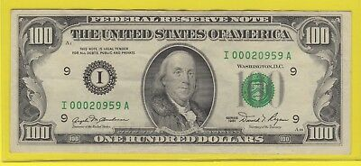 1981 (I)  Federal Reserve Note One Hundred Dollar Bill...vf....$100.00...959