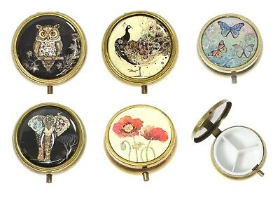 3 Compartment Easy Open Medicine Case Pill Box Vintage Brass Effect Metal Gifts