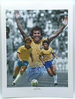 BRAZIL ZICO Signed LARGE 16x12 INCH Photo AFTAL OnlineCOA
