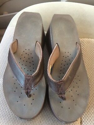9cf179b96501b3 Women s used Volatile Frappachino brown leather wedge sandals flip flops  size 9