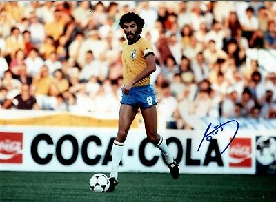 BRAZIL SOCRATES Signed LARGE 16x12 INCH Photo AFTAL OnlineCOA