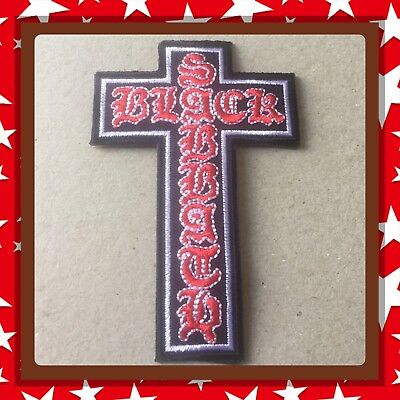 🇨🇦 Black Sabbath Cross   Patch Embroidered Sew On/stick On Clothing/new 🇨🇦