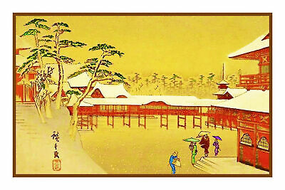 Asian Temple Maiden in the Snow Japanese Woodblock Counted Cross Stitch Pattern