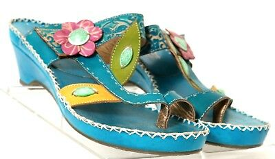 82b8ca16054722 L Artiste by Spring Step Belanus Blue Floral Toe Ring Slide EU 39 Women s US