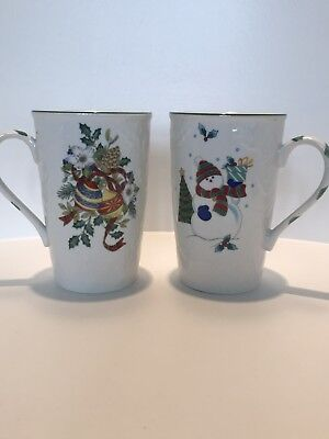 Set Of 2 MIKASA English Countryside Christmas MUGS Cups Cappuccino