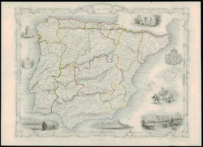 """1850 Original Illustrated Antique Map of """"SPAIN AND PORTUGAL"""" by TALLIS  (194d)"""