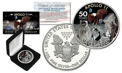 APOLLO 11 50th Anniversary Man on Moon 1 OZ PURE US SILVER AMERICAN EAGLE in BOX