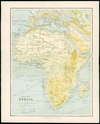 1900 Antique Colour Map PHYSICAL MAP OF AFRICA Madagascar Arabia (13)