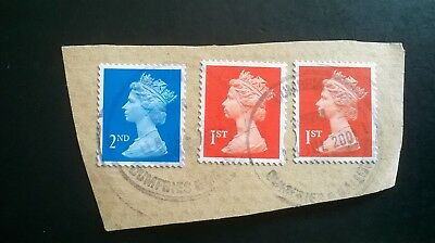 3 Used Gb 2Nd Class Blue & 1St Class Flame Machin Stamps Dumfries Postmark
