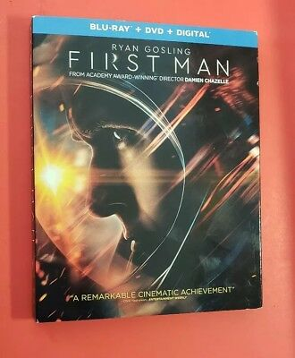 First Man (Blu-ray + DVD + NODigital, 2019) with Slipcover!!! LIKE NEW