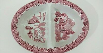 Churchill PINK WILLOW China Oval Divided Vegetable Serving Platter Bowl Vintage