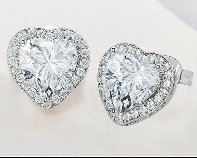 7282e039cf792 HALO HEART STUD Earring in 18K White Gold Plated Made with Swarovski  Crystals