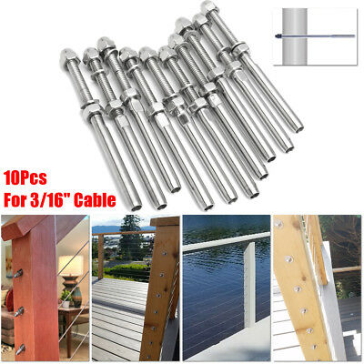 10PCS T316 Stainless Steel Threaded Terminal Fitting for 3/16'' Railing Cable