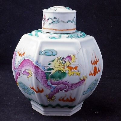 Circa 1900 Chinese porcelain six sided tea caddy with two dragons