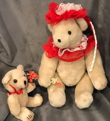 Bearly People Beautiful Poseable Teddy Bear in lace dress lot of 2 clean! B18
