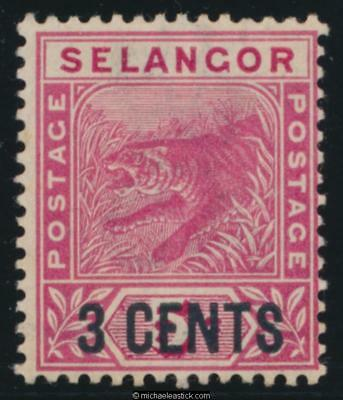 1894 Malaya Selangor 3 cents on 5c Rose Tiger, SG 53 MH