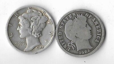 Rare Old US WWII Bullion Silver 1944 Mercury 1906 Barber Collection Coin Lot:Y31