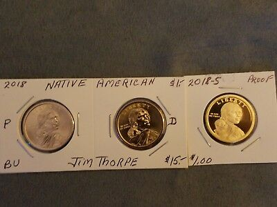 2018 P~D~S~ Sacagawea Dollar ~Proof~ Native American 3 Coin Set Lot Pds In Stock