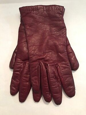 Bonwit Teller Gloves 6.5 Cashmere Lined Oxblood Red Womens Leather Vintage
