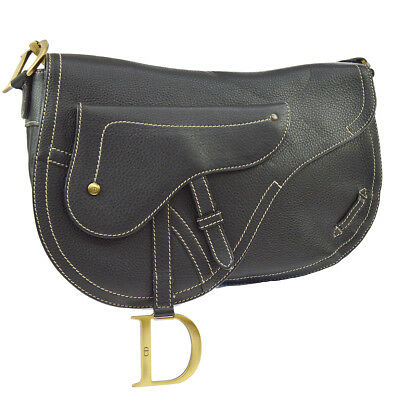 Auth Christian Dior Saddle Cross Body Shoulder Bag Black Leather Vintage  AK29784 fd536edd5564d