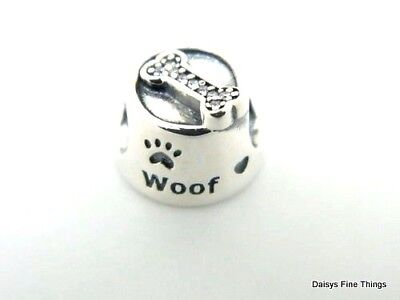 New/tags   Authentic Pandora Silver Charm Woof Dog Bowl #791708Cz  Retired