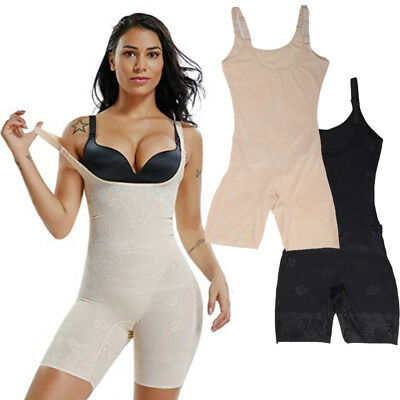 f4f0b0ce7739b Women Mid-Thigh Open-Bust Bodysuit Jumpsuit Tummy Control Full Body Shaper  Slim