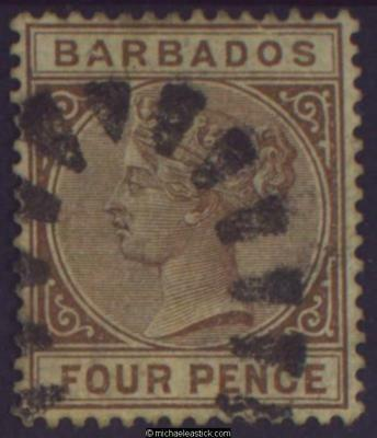 1885 Barbados 4d Pale-Brown, SG 98 Used