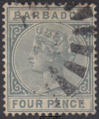 1882 Barbados 4d Grey, SG 97, used