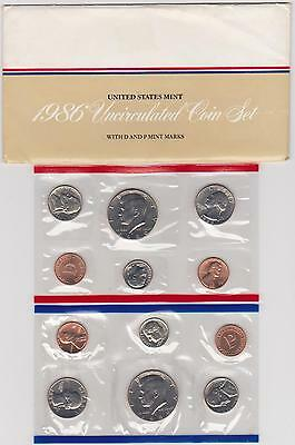 1986 P And D United States Mint Uncirculated 12-Coin Set
