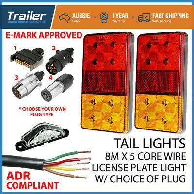 TRAILER LIGHT KIT PAIR 12-24v LED LIGHTS,1 XPLUG, 5 CORE WIRE,NUMBER PLATE LIGHT