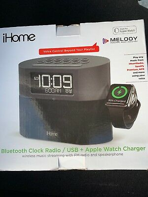 843745d8e12 iHome IWBT400GC FM Dual-Alarm Clock Radio with Apple Watch Charger Gray New