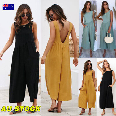 AU Women Backless Jumpsuit Sleeveless Playsuit Summer Beach Wide Leg Trousers