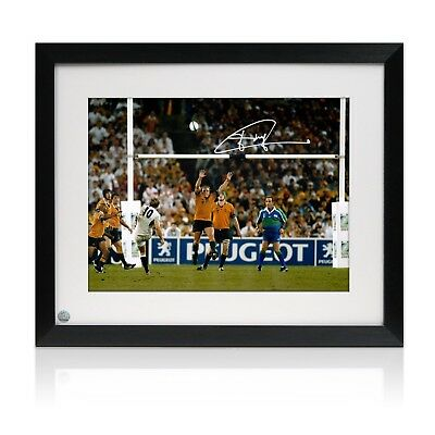 Framed Jonny Wilkinson Signed 2003 Rugby World Cup Photo: The Drop-Kick
