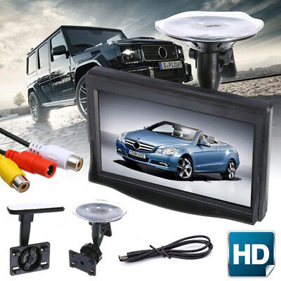 5 Inch HD Screen Monitor For Car Rearview Reverse Backup Parking Camera Cam GN