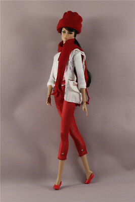 6in1 Set Fashion Top+pants+Bag+Shoes+Cap+scarf Outfit  FOR 12inch 11.5in.Doll