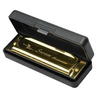 Swan Harmonica 10 Holes Key of C GOLDEN with Case Blues Harp Metal Steel N Q7G2)